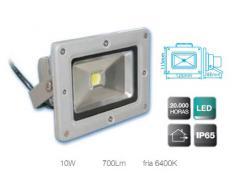 Foco Proyector Led de aluminio de alto brillo de 10W, suspensión giratoria variable, 700 lumens, luz fría 6400K, uso externo, IP65, 230V