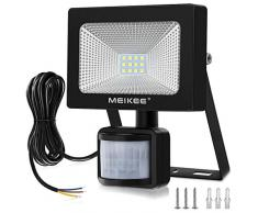 MEIKEE 10W Foco LED con Sensor Movimiento 1000LM, Mejoradoluz Foco LED Solar Exterior, Impermeable IP66 Proyector LED Exterior con Sensor, Iluminación Sensor de Movimiento Exterior Seguridad