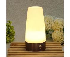 Pixnor Movimiento inalámbrico Sensor LED noche luz pilas batería luz paso funcionado Sensor de movimiento LED mesa lámpara dormitorio
