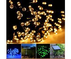Lychee 17m 55 pies 100LED Solar impermeable hadas de las luces con 2 modos para la decoración de exteriores, interiores, de la boda, jardín, casa, fiesta, navidad (Blanco cálido)