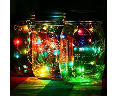 5 paquetes – Mason tarro tapa cadena de luces solar LED Patio Jardín de hadas al aire libre colgar light-wedding Navidad Wedding Party lámpara decorativa (tarros no incluido)
