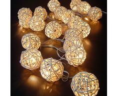 Funciona con pilas JnDee hecho a mano de ratán de 4 m 40 LED guirnalda decoración de bolas blancas de ratán-ball sauce-ball batería luz blanca cálida