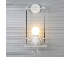 HanLinLight - Lámpara mural de aplique con un simpático y moderno diseño de columpio - Para 1 bombilla con casquillo E27 - Ideal para habitación infantil - Potencia:40 W.