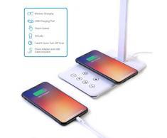 Lámpara Escritorio LED FLUXS - Carga Inalámbrica Wireless y Puerto USB, Flexo de Lectura con 4 Modos y 10 Niveles de Brillo, Control Táctil Regulable y Temporizador , Bajo Consumo, Anti Fatiga Ojos