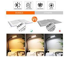 Clip de luz LED - Luz de Lectura con abrazadera, Lámpara de Escritorio, 3 Colores, 10 Niveles de Brillo, 6W Cuello de Cisne para Oficina, Hogar, Cabecera (Negro)