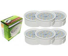 Trango 6 paquete IP44 en cromo Luz empotrada LED TG6729IP-068MOSD incluido 6x Módulo LED ultra plano regulable a solo 3 cm de profundidad de instalación, luz empotrada, lámpara de techo, puntos