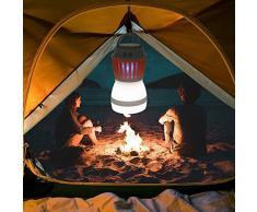 Antimosquitos Camping Linterna de Camping LED Lámpara Recargable con Función Bug Zapper Carga USB y Carga Solar para Acampar al Aire Libre, Control de Mosquitos