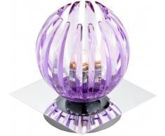 Trio 594010192 Serie 8140 - Lámpara de sobremesa con base espejo, bombilla incluida, G9, Halógeno, 28 W, 370 lm, 2800 K, 230 V, C, IP20, 15 x 13 x 13 cm, metal, violeta