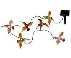 Best Season 477-66 - Cadena de luces led solar (para exteriores, con 6 pájaros de colores, 1,7 m, panel solar, incluye 1 pila AA)
