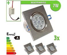 3 x LED foco empotrado LEDVero 7 W cuadrado blanco cálido