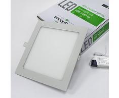 Wonderlamp W-E000042 - Lámpara downlight LED, 18 W, luz blanca, 4200º K, 1480 lm, aluminio, 22,5 x 22,5 cm, color Gris