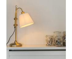 QAZQA Clásico/Antiguo Lámpara de mesa clásica bronce con pantalla blanca - ASHLEY Textil/Acero Otros Adecuado para LED Max. 1 x Watt