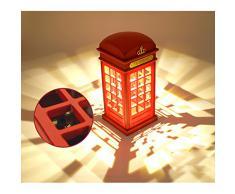 Cabina telefónica Vintage Londres diseñado USB LED noche Touch Sensor mesa escritorio lámpara de carga para estudiantes dormitorio dormitorio iluminación casa Bar decoración novedad cumpleaños vacaciones regalo brillo ajustable