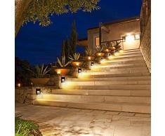 SUBOSI - Luz LED para escaleras, Aluminio, 230 V, 3 W, Cristal, lámpara de Pared, luz de Escalera, con Caja empotrada, luz de Escalera, lámpara de Pared, IP65, Resistente al Agua, Blanco cálido