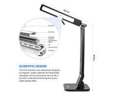 Lámpara de escritorio plegable LG-DL01 LED Ledgle Lámparas de mesa con control táctil (Estudio/Lectura/Relajación/hora de acostarse), 5 niveles de regulación (4 Modos de iluminación, Brazo flexible, Auto apagado de 1h, Puerto