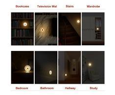 SOAIY LED Lampara con Sensor al Tacto, Brillo Ajustable, Luz Nocturna con Pilas, Luces de Noche, Fijar en Pared, con Almohadillas, 4 Pcs Blanco Cálido