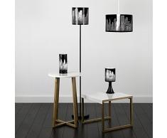 MiniSun – Moderna lámpara de pie inspirada en el paisaje de Nueva York, de color negro brillante