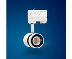 Foco Proyector para Sistema de Rieles Led Blanco Cálido 12 W de 3 Fases