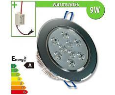 LEDVero - Foco LED empotrable (9 W, redondo, luz blanca cálida)