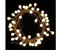 MAXINDA-Cadena de Luces LED, Globo Luces de Navidad Fiesta (5M 48 LED 24V) con 8 Modos para Exterior, Interior, Boda, Jardín, Césped, Decoración de Patio, Color: Blanco Cálido (1 Juegos)
