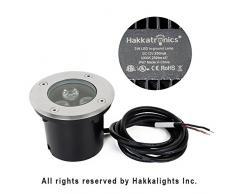 Hakkatronics 3W LED empotrables en el suelo, DC12V Foco exterior lámpara IP68 300LM (RGB, Con el control remoto)
