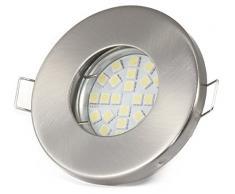 Foco empotrable para baño, 12 V, IP65, color: acero inoxidable cepillado | Bombilla LED (CA/CC) de 12 V, 5 vatios, 450 lúmenes, luz blanca cálida | Bombilla sustituible