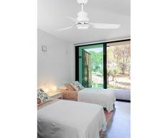 Faro Barcelona Phuket 33498 - Ventilador con luz (bombilla incluida) LED, 12W, cuerpo de acero palas blancas de abs difusor de cristal opal, color blanco