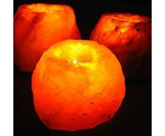 MGS SHOP - Lámpara para velas de té (cristal de sal natural, hasta 1 kg), 2er- Set