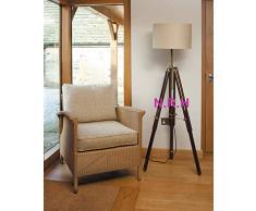 Lámpara de pie con trípode de madera, diseño clásico, estilo marino.