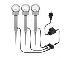 parlat LED lámpara de jardín Bubble con estaca de tierra para el exterior, IP54, blanca cálida, juego de 3