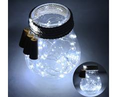 Pack de 6 luz cadenas con 20 bombillas de LED en forma de corcho, alambre de cobre, para decoración de botellas, para Navidad, Boda, Fiesta, color blanco