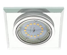 Trango 5-pack diseño LED luz de techo de iluminación empotrada proyectores empotrables hecho de vidrio y aluminio cortadas a mano TG6729S-05GU5SD incl. 5x GU10 regulable bombillas LED