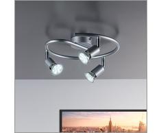 Lámpara de techo | Lámpara de pared | Tres focos LED de 3 vatios y 250 lúmenes | Giratoria y orientable | Con tres lámparas incluidas | Spot GU10