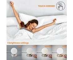 Lámpara de mesa táctil máx. 25 W E14, Ø15,7cm, 4 niveles de luminosidad, Lamparilla de noche moderna, Color blanco, IP20
