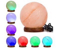 Klass Home Collection - Lámpara LED multicolor con forma de sal de roca natural del Himalaya, sal de cristal del Himalaya Palisandro, Rosa cálido (Varios), Globe