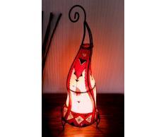 Lampara de suelo o de mesa de Henna marroquí forma redonda color rojo y crema altura 60 cm