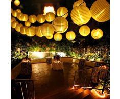 Qedertek Guirnaldas Luces Farolillos Solares 6M 30 LED Cadena de Luces Exterior Impermeable para Decoración Jardines Casas Bodas (Blanco Cálido)