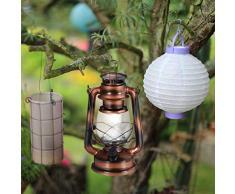 Relaxdays, Cobre Farol LED, Lámpara Vintage Decorativa, A Pilas