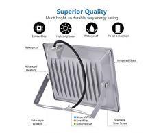 Reflector LED de 50W, foco para exteriores, lámpara de pared blanca fría 5000LM 6500K, IP65 a prueba de agua, CA 220V, luces de seguridad (50W)