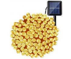 OxyLED luces de cadena de hadas solares, luces impermeables interiores/exteriores de 200 LED,luces solares decorativas accionadas para jardín,patio,patio,hogar,bodas,fiestas,Navidad,blanco cálido
