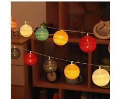 Bolas de algodón LED cadena luz - ELINKUME 20LED RGB linterna luces de hadas iluminación decorativa con pilas para balcón, ventana, fiesta, boda, Navidad