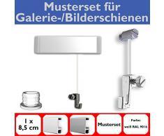 Neumann Bilderrahmen Juego de Muestra para Imagen más carriles con Deslizadores, galería rieles fijados en Blanco del Sistema, para Colgar Cuadros Incl. Accesorios