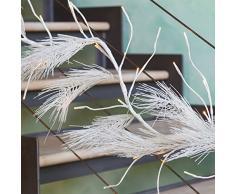 Rama blanca de pino artificial 120 cm, 48 LED luz cálida, rama adornada, iluminación decorativa, adornos navideños