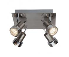 Brilliant G34735/77 Kassandra - Lámpara de techo (GU10, 4 focos orientables led de 3 W, 240 lm, 3000 K, metal), color gris hierro y cromo
