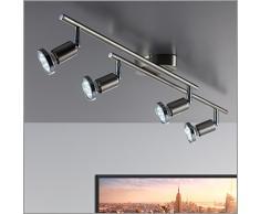 Foco LED para techo - luz de techo - Barra de techo con Spot GU10 de 3 vatios de potencia y 250 lúmenes incluidos -orientable de color titanio - gris - con anillo cromado - Luces Led GU10 de 3 vatios de potencia y 230 voltios Làmpara de salòn con cuat
