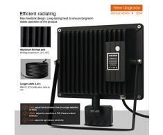 MEIKEE 30w Foco LED con Sensor Movimiento de 3000LM, Proyector LED exterior 6000K con detector PIR de IP66 (resistente al agua), Iluminación de Exterior y Seguridad para patio, jardín
