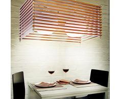 Relaxdays 10018900 - Lampara colgante, 2 pantallas de vidrio, efecto craquelado, para zocalo E27, material: madera