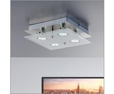 Lámpara de techo led (GU10, 3 W, 250 lúmenes, orientable, incluye anillo cromado), color níquel mate, níquel mate, cuadrado, GU10