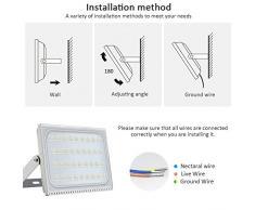 200W LED Blanco frío IP67 impermeable Foco Proyector Reflector de la Lámpara LED Seguridad Luz Brillante luz de Inundación al aire Libre 220V Para el Jardín, Cartelera, Almacén (200W)