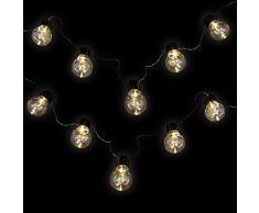 Bombillas Luz Cadena en blanco cálido - Solar - Con 10 LED en diseño - La bombilla para exteriores